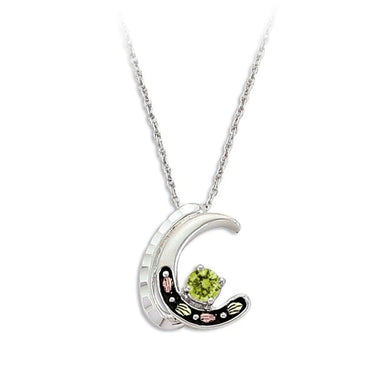 Sterling Silver Black Hills Gold Peridot Crescent Pendant - Jewelry