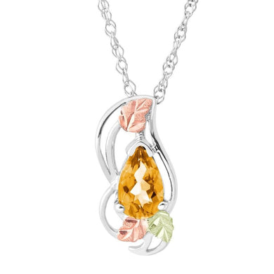 Sterling Silver Black Hills Gold Citrine Pear Pendant - Jewelry