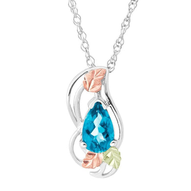 Sterling Silver Black Hills Gold Blue Topaz Pear Pendant - Jewelry