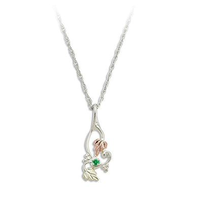 Sterling Silver Black Hills Gold Foliage Emerald Pendant II - Jewelry