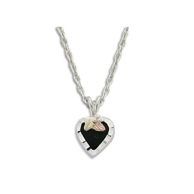 Sterling Silver Black Hills Gold Heart of Onyx Pendant II - Jewelry