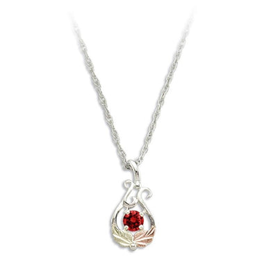 Sterling Silver Black Hills Gold Round Garnet Pendant - Jewelry