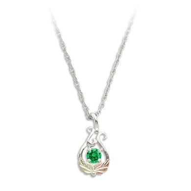 Sterling Silver Black Hills Gold Round Emerald Pendant - Jewelry