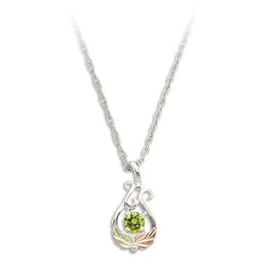 Sterling Silver Black Hills Gold Round Peridot Pendant - Jewelry
