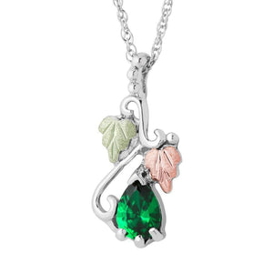 Sterling Silver Black Hills Gold Pear Emerald Pendant - Jewelry