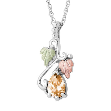 Sterling Silver Black Hills Gold Pear Citrine Pendant - Jewelry