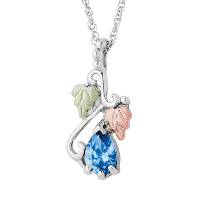 Sterling Silver Black Hills Gold Pear Blue Topaz Pendant - Jewelry