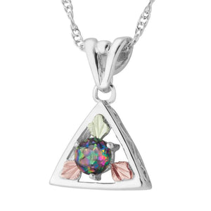 Sterling Silver Black Hills Gold Mystic Fire Topaz Pendant - Jewelry