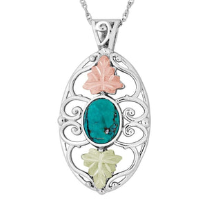 Sterling Silver Black Hills Gold Turquoise Pendant - Jewelry