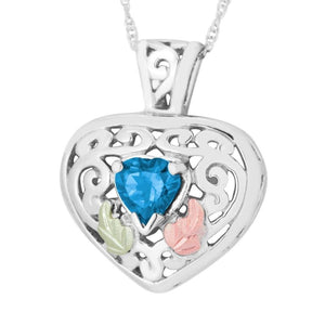 Sterling Silver Black Hills Gold Blue Topaz Frilly Heart Pendant II - Jewelry