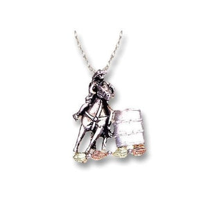 Sterling Silver Black Hills Gold Horse And Rider Pendant - Jewelry