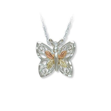 Sterling Silver Black Hills Gold Pretty Butterfly Pendant - Jewelry