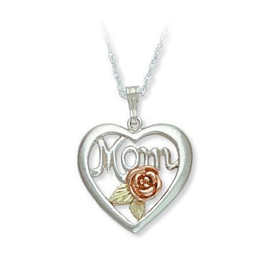 Sterling Silver Black Hills Gold Moms Heart and Rose Pendant - Jewelry