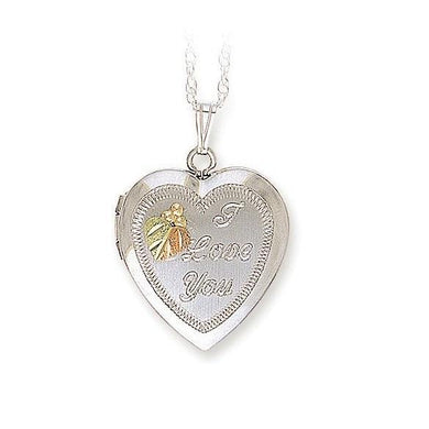Sterling Silver Black Hills Gold Heart Shaped Locket Pendant - Jewelry