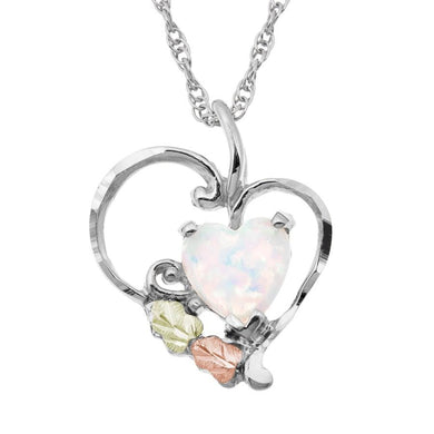 Sterling Silver Black Hills Gold Opal Heart Pendant - Jewelry