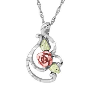 Sterling Silver Black Hills Gold Shining Rose Pendant - Jewelry
