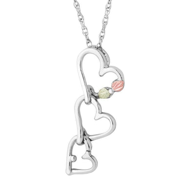 Sterling Silver Black Hills Gold Three of Hearts Pendant - Jewelry