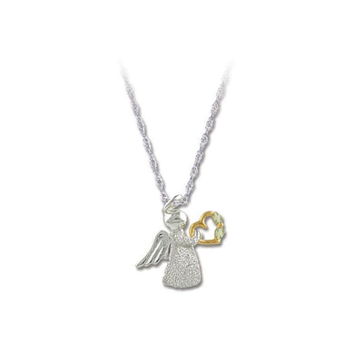 Sterling Silver Black Hills Gold Angel And Heart Pendant - Jewelry