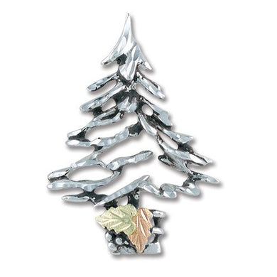 Sterling Silver Black Hills Gold Christmas Tree Brooch