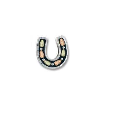 Sterling Silver Black Hills Gold Horseshoe Pin