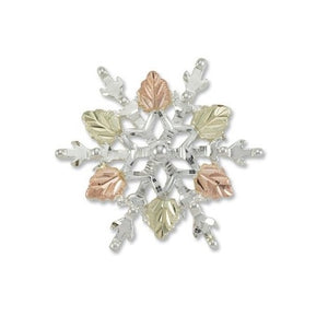 Sterling Silver Black Hills Gold Snowflake Brooch
