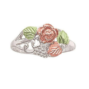 Sterling Silver Black Hills Gold Red Rose Ring I - Jewelry