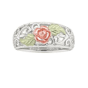 Sterling Silver Black Hills Gold Red Rose Ring II - Jewelry