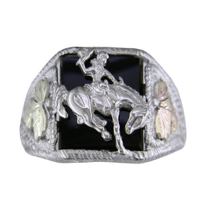 Men's Sterling Silver Black Hills Gold Cowboy Ring