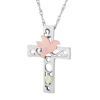 Sterling Silver Black Hills Gold Colorful Cross Pendant - Jewelry