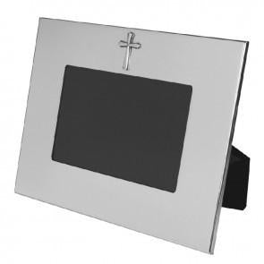 "Horizontal Wide Border 4""x6"" Pewter Frame With Cross"
