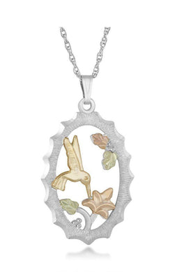 Sterling Silver Black Hills Gold Hummingbird Garden Pendant - Jewelry