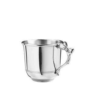 Bow Handle Baby Cup 5 oz in Pewter - Fortune And Glory - Made in USA Gifts
