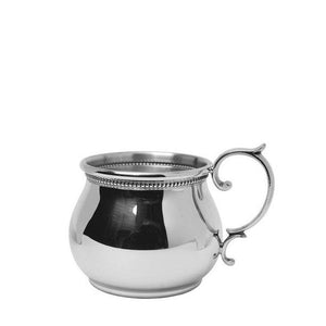 Bulged Scroll Handled Baby Cup with Beading in Pewter - ENG