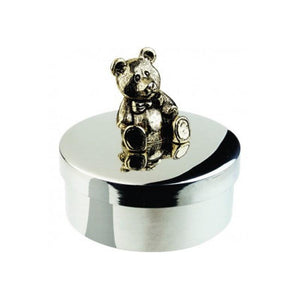 Keepsake Box - Teddy Bear 1 7/8 diameter in Pewter - X