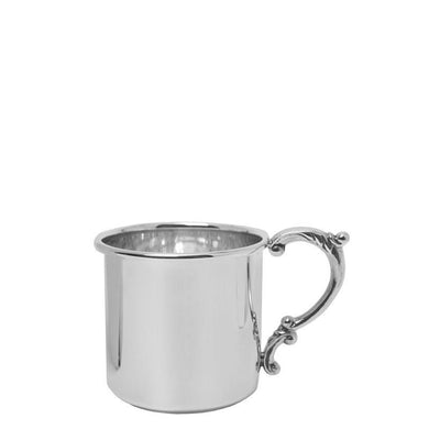 Scroll Handle Baby Cup in Sterling Silver - Fortune And Glory - Made in USA Gifts