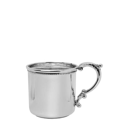 Scroll Handle Baby Cup with Beading in Sterling Silver - ENG