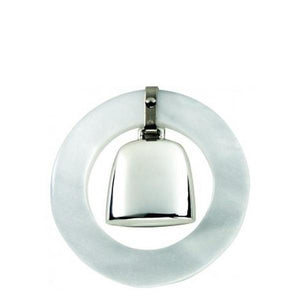 White Sterling Teething Ring Rattle - ENG