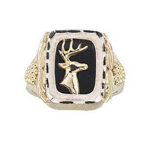 Mens Sterling Silver Black Hills Gold Proud Buck Ring - Jewelry