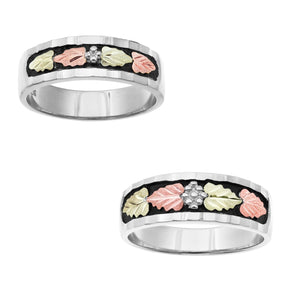 Black Hills White Gold His & Hers Traditional Wedding Ring Set