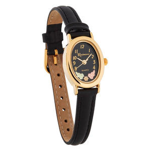 Black Hills Gold Ladies Oval Face Leather Band Watch