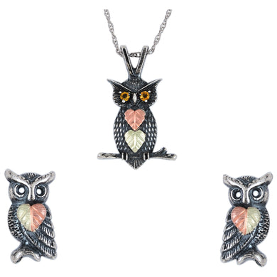 Sterling Silver Oxidized Owls Earrings & Pendant Set - Fortune And Glory - Made in USA Gifts