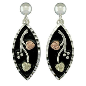 Sterling Silver Black Hills Gold Antiqued Oval Drop Earrings - Jewelry