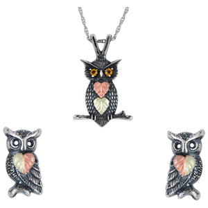 Sterling Silver Oxidized Owls Earrings & Pendant Set - Jewelry