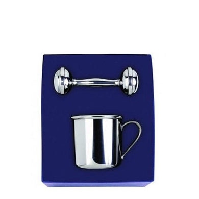 Straight Baby Cup & Rattle Gift Set in Pewter - ENG