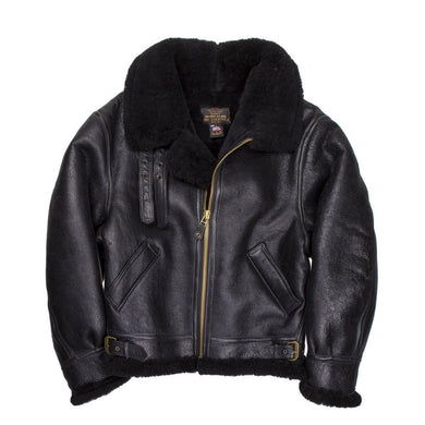 B-3 Authentic Black Sheepskin Jacket - Fortune And Glory - Made in USA Gifts