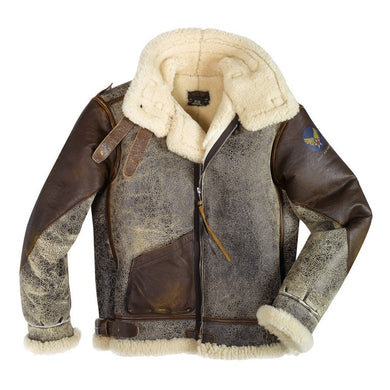 100 Mission™ B-3 Bomber Leather Jacket - Fortune And Glory - Made in USA Gifts
