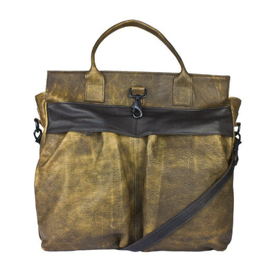 Distressed Leather Helmet Tote Bag