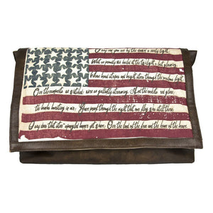 National Anthem Flag Leather Messenger Bag