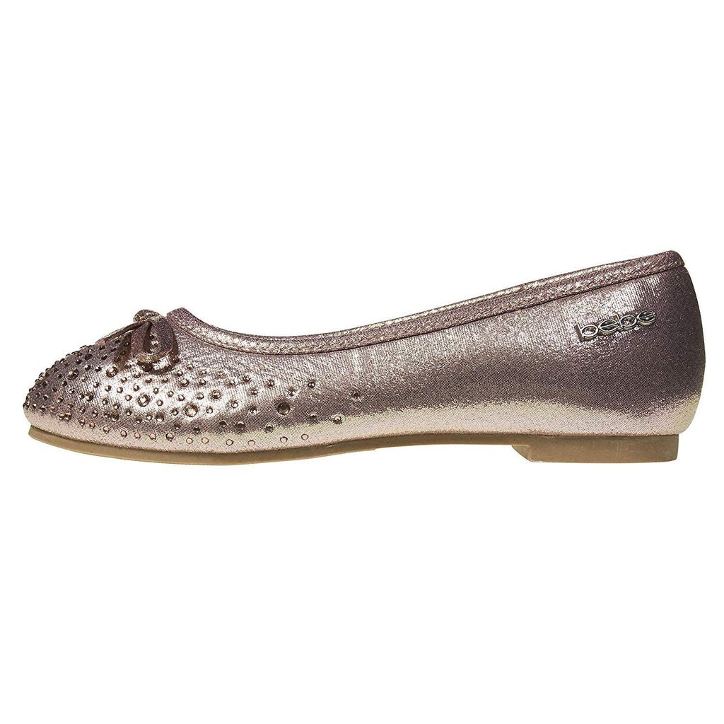bebe Girls Ballet Flats Round Toe Microsuede Perforated Laser Cut with Bow and Rhinestones Slip-On Shoes Flexible PU Leather