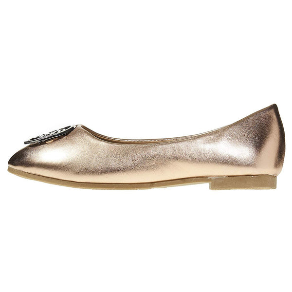 bebe Girls Ballet Flats Round Toe with Metal Bling Slip-On Shoes Flexible PU Leather